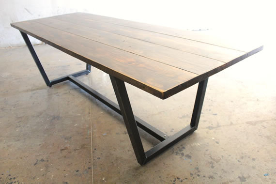 "7' x 37"" Steel Trapezoid Table stained in Vintage Dark Walnut with a Semi-Gloss Sheen."