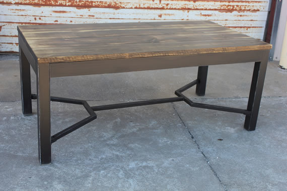 "6' x 37"" Kingston Industrial Table with a traditional top stained Vintage Dark Walnut with a Semi-Gloss Sheen."
