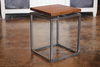 Floating Top Steel Base End Table with Early American stained top.