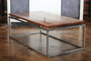 Floating top Steel Base Coffee Table. Early American stained top with a semi-gloss finish.