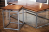 Floating top Steel Base Coffee Table and End Table. Early American stained top with a semi-gloss finish.