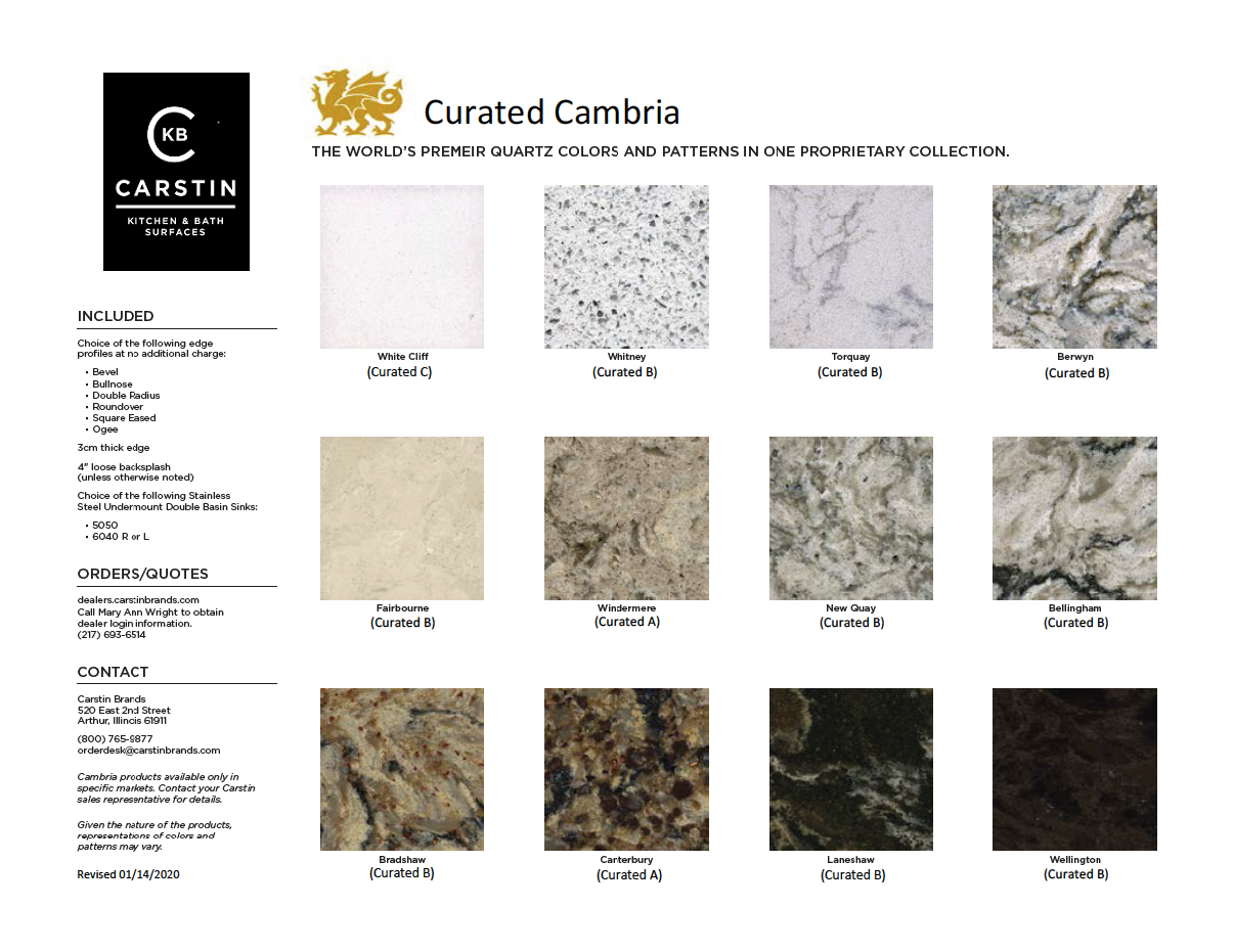 Curated Cambria marketing flyer