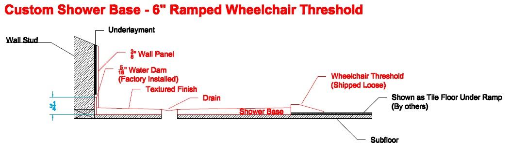"""custom shower base - 6"""" Ramp diagram"""