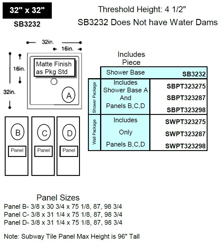 tile wall shower diagram