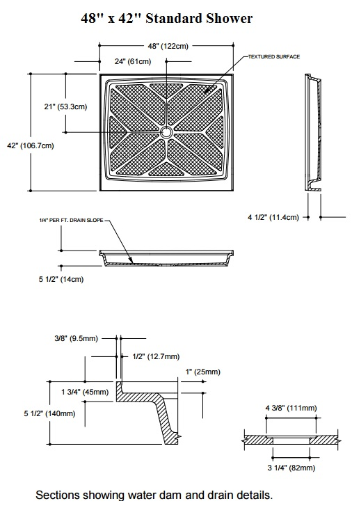 48x42 Center. Standard Shower Base Diagram