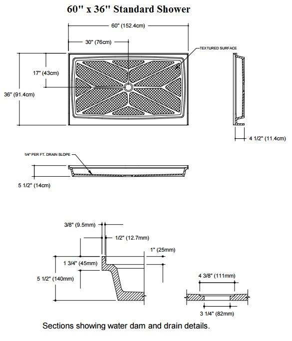 standard shower base diagram