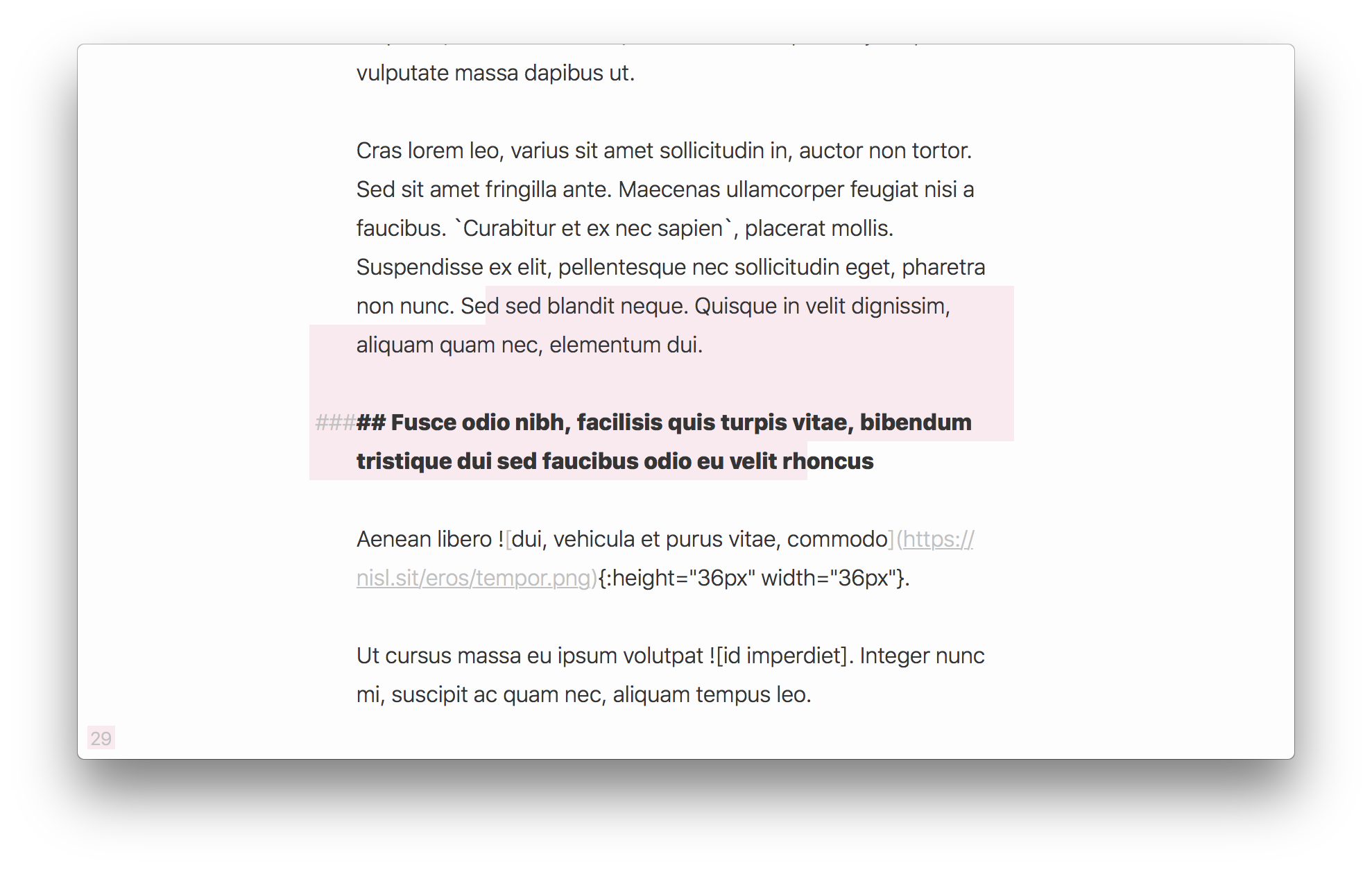 a screenshot of Paper, which does does not properly render all Markdown elements in the view