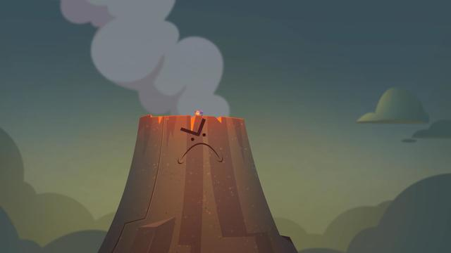 Throwing FeeBee's Flower into the Volcano