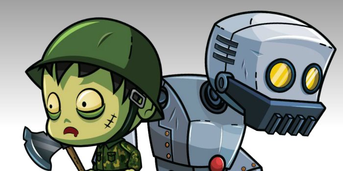 Zombie and Robot Royalty Free Game Art Thumbnail