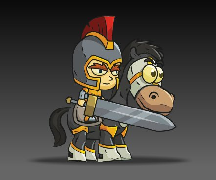Royalty Free Game Art Knight on Horseback2