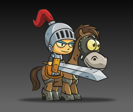 Royalty Free Game Art Knight on Horseback1