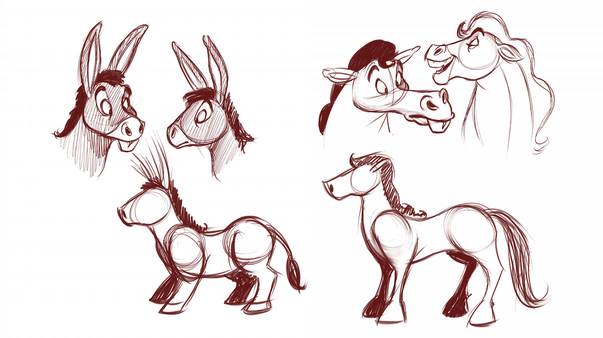 How to draw a horse or donkey