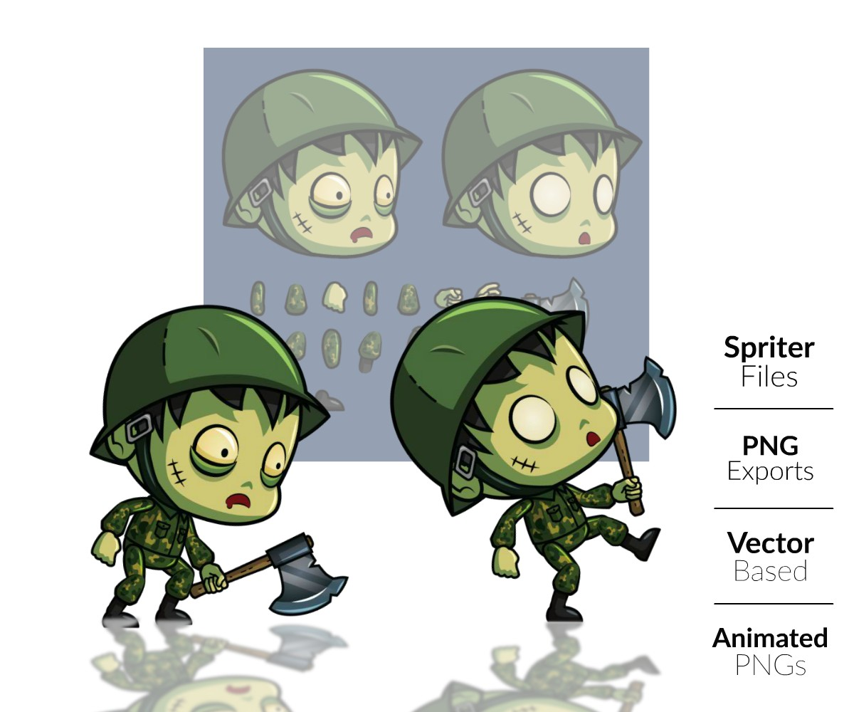 Zombie Soldier Royalty Free Game Art