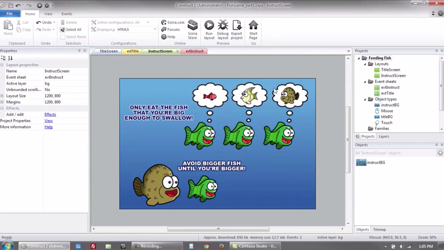 Construct 2 Tutorial Screenshot 2