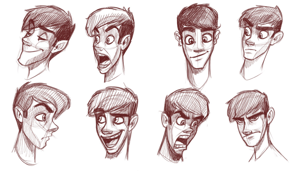 How to draw heads of slim characters