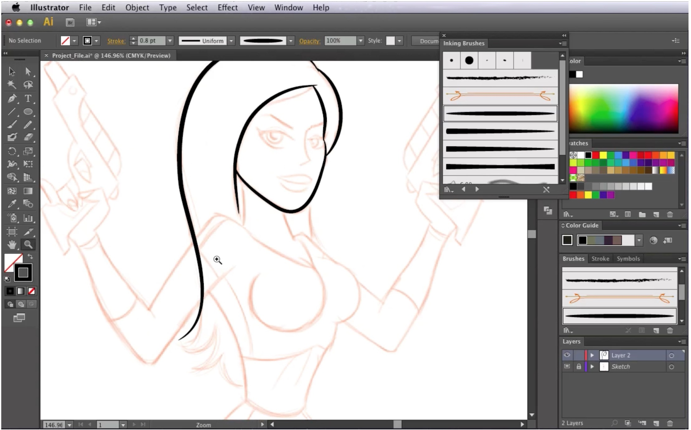 How to Draw a Pin Up Girl in Illustrator Sketch