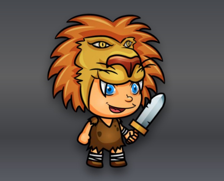 Royalty Free Game Art - Lion Hunter Character