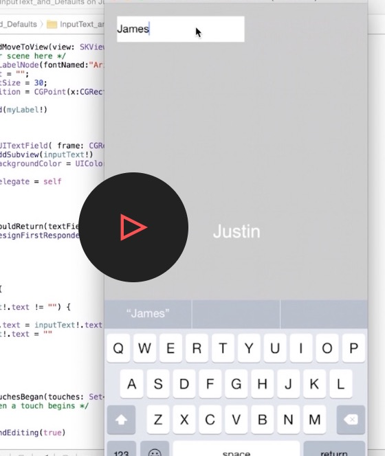 ios video tutorial saving input text with Swift