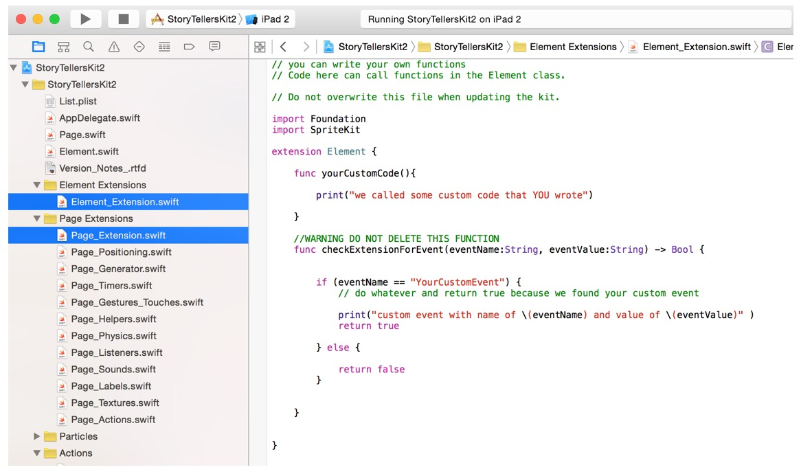Extending the iOS9 starter kit with your own code