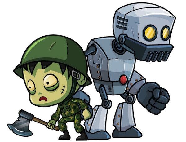 New royalty-free Robot and Zombie Game Art Characters for CartoonSmart Subscribers!