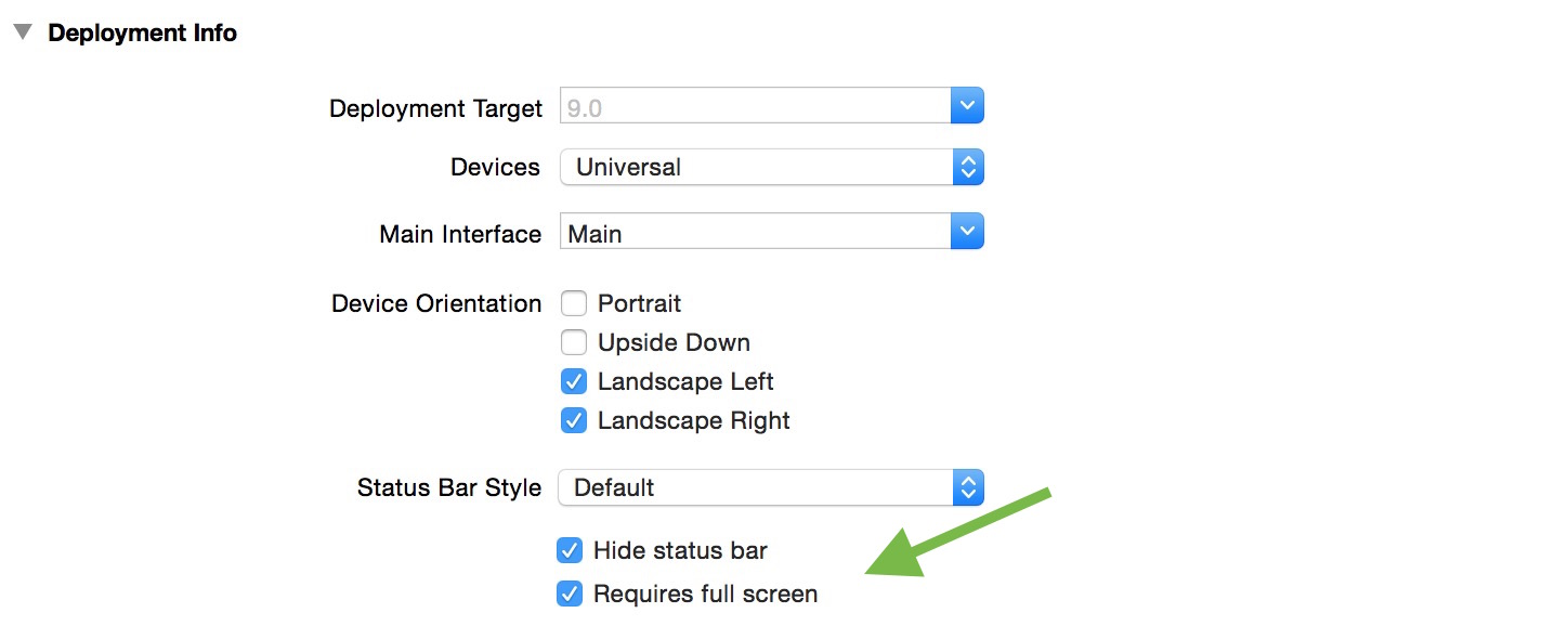 How to require full screen in Xcode 7