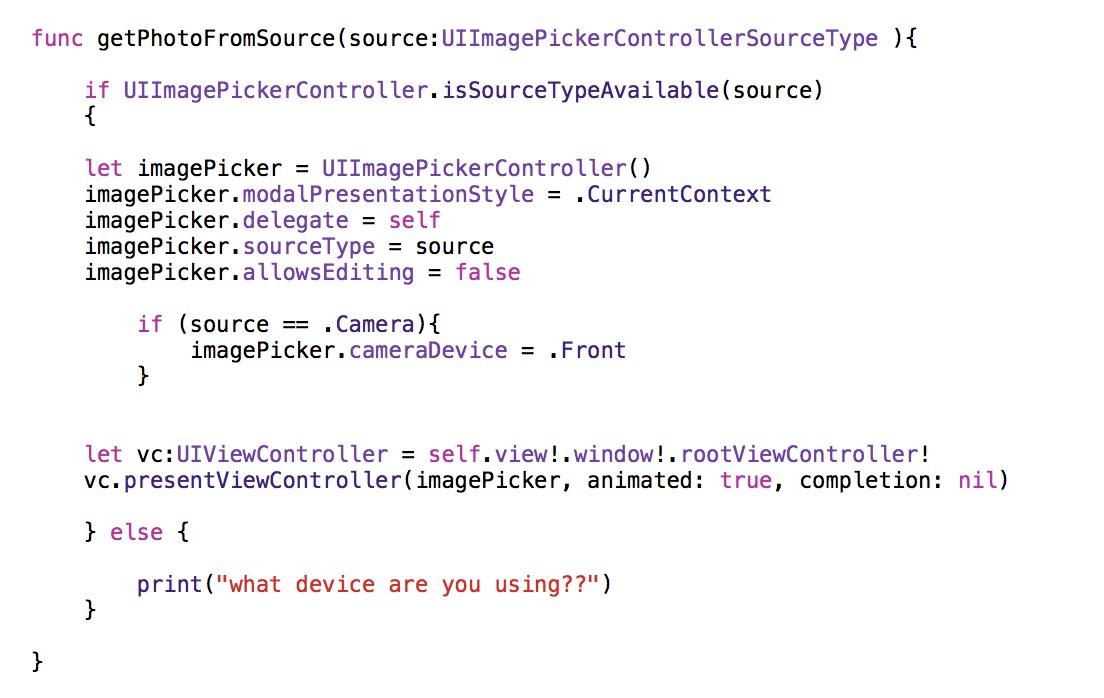 UIImagePickerControllerSourceType function