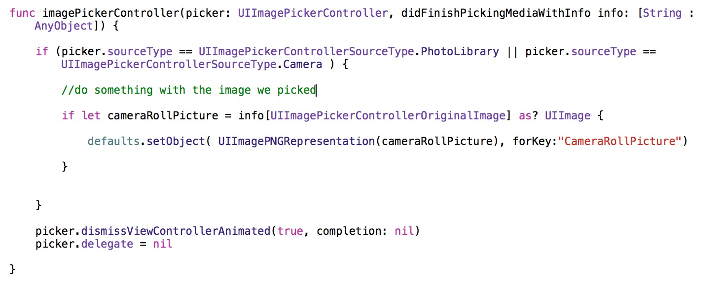 Swift code for using the image data from CameraRoll