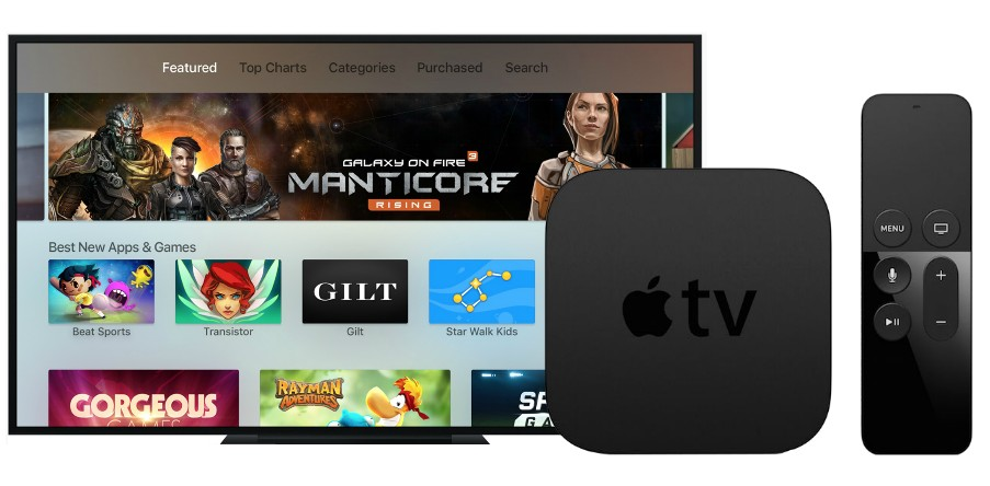 remote apple tv and screen