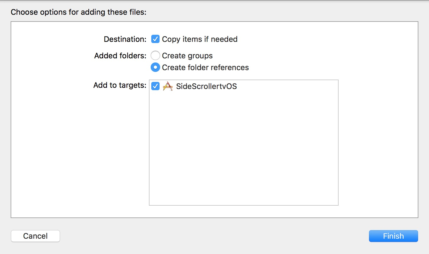 Import options to Xcode
