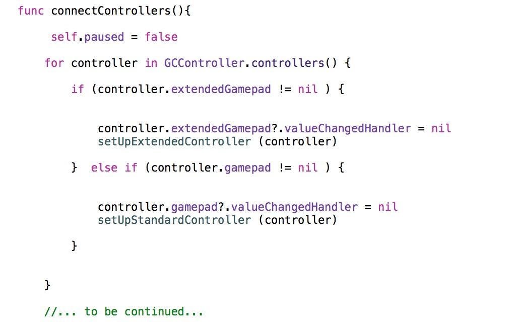 Connecting external controllers with Swift and Sprite Kit