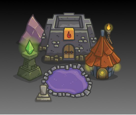 top down dungeon themed tower defense art