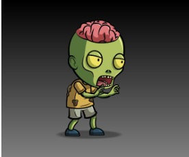 Expose Brain Zombie Royalty Free Game Art Character