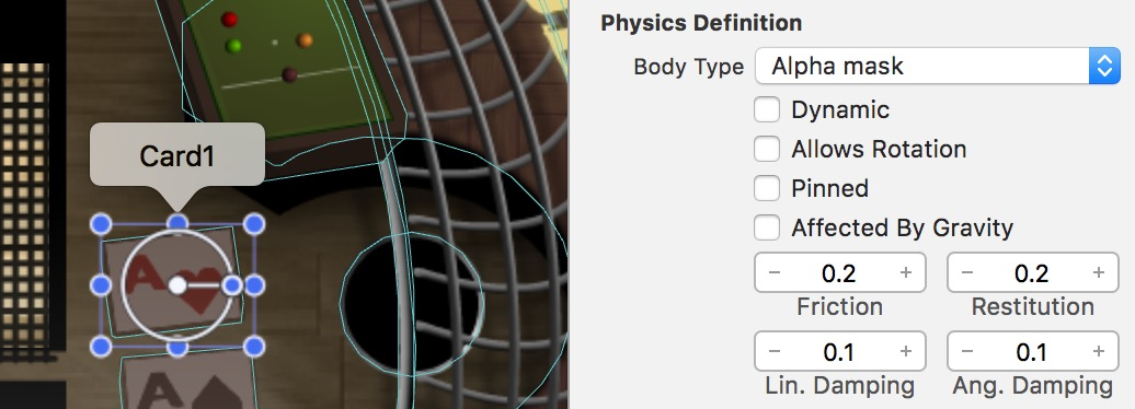 Setting a physics body definition in Xcode