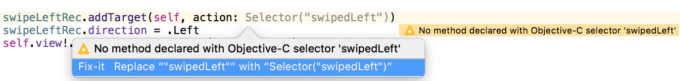 No method declared with Objective-C selector