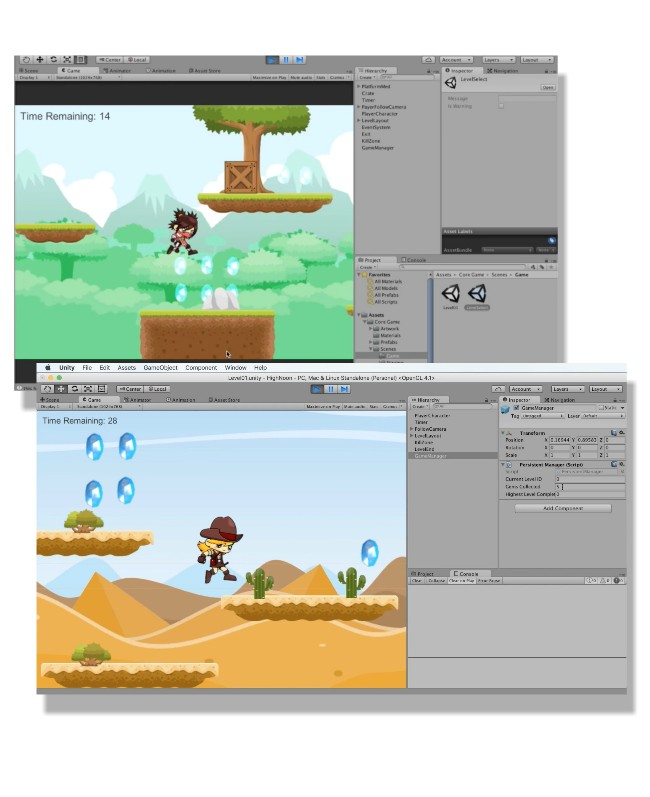Screenshots from Unity Tutorials