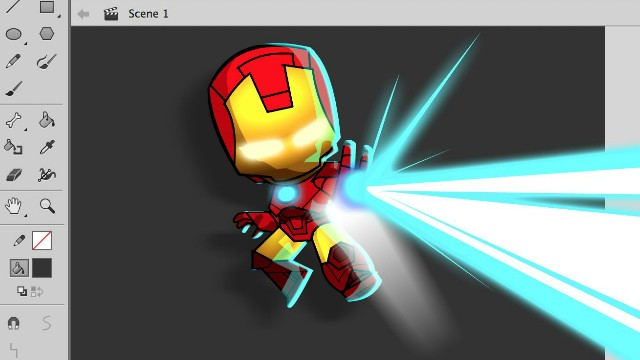 How to Draw a Chibi style Iron Man in Adobe Animate video tutorial
