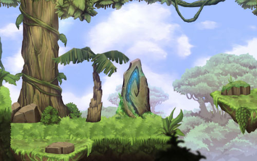 Jungle Scene hand painted royalty free game art