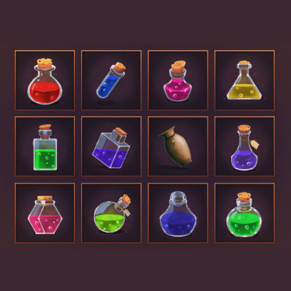 GUI Potion Icons for Games