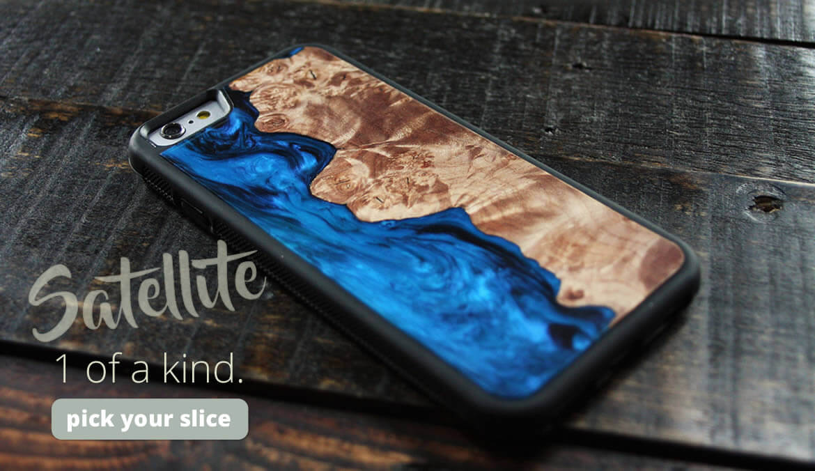 Carved Satellite Wood Cases - One of a kind