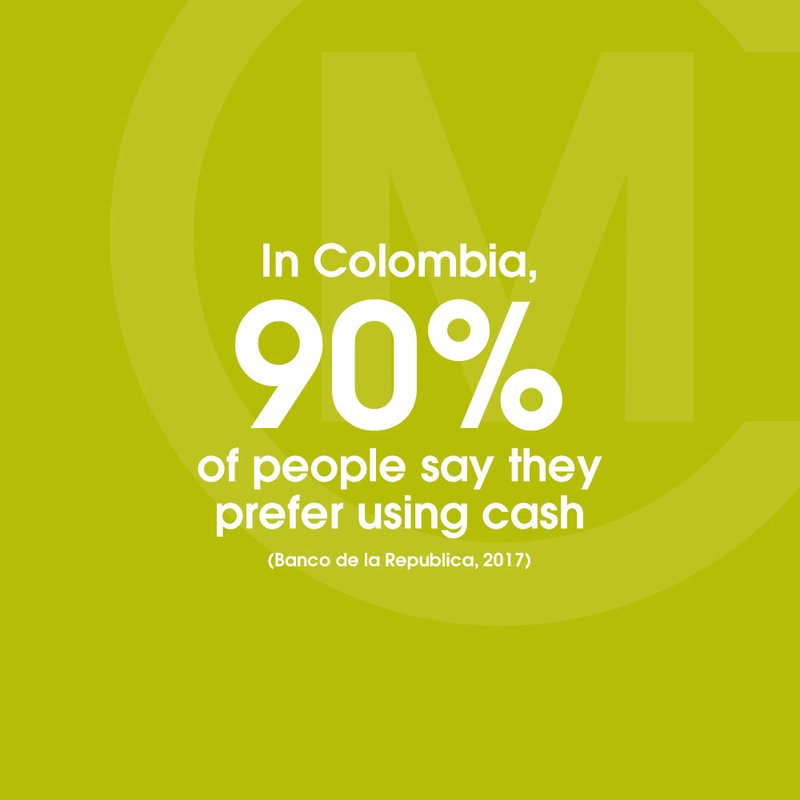 colombia prefer cash 90% yellow green