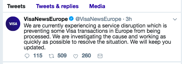 Visa Tweet Visa Down