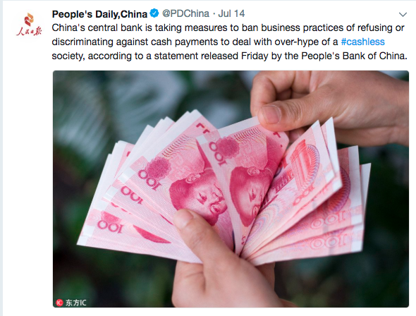 Snapshot of People's Daily, China, cashless ban central banks