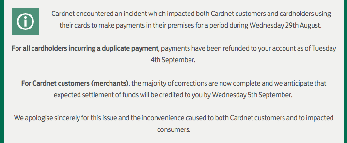 Snapshot of Cardnet statement
