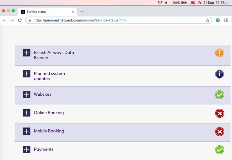 Screenshot of NatWest service status page Friday 21 September 2018