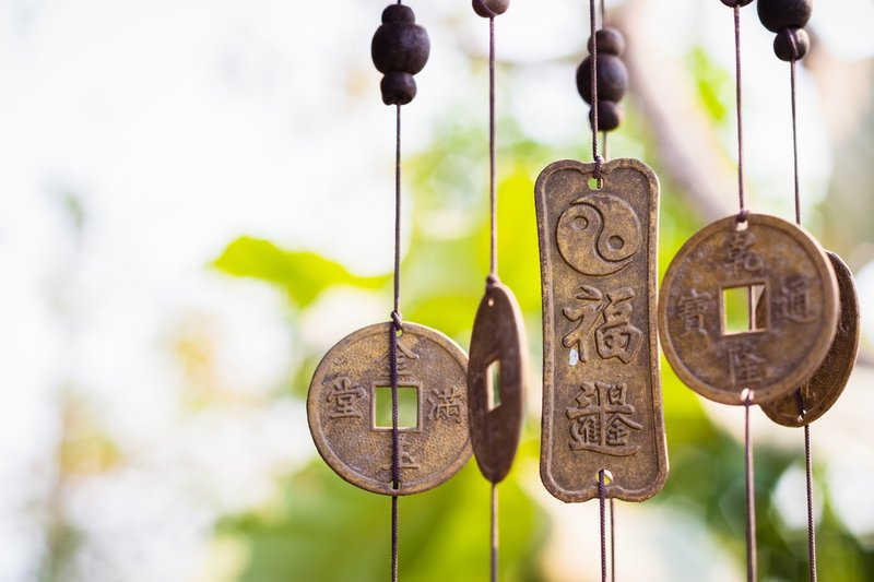 Chinese coins hanging chimes