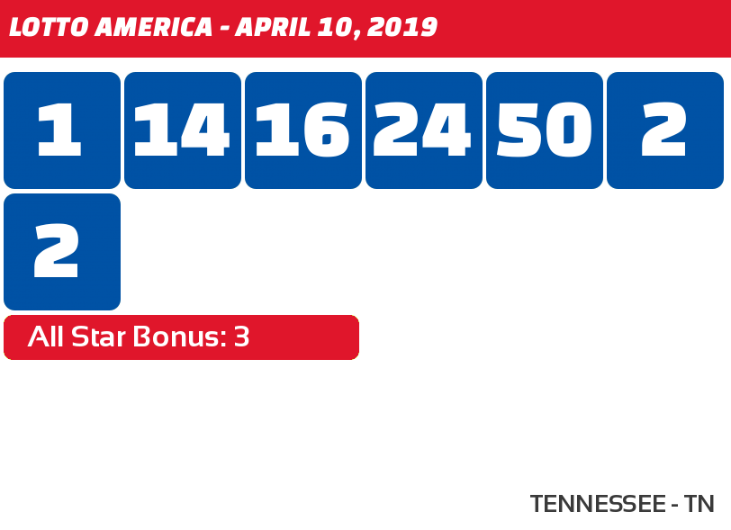 Lotto America results for April 10, 2019 - Tennessee Lottery