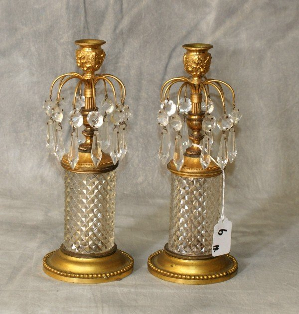 Baccarat style antique bronze and crystal candlesticks : Lot 6