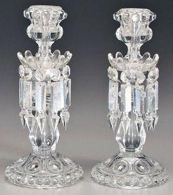 Candlesticks (2); Baccarat, Crystal, Prisms, 12 inch. | ıdeas in