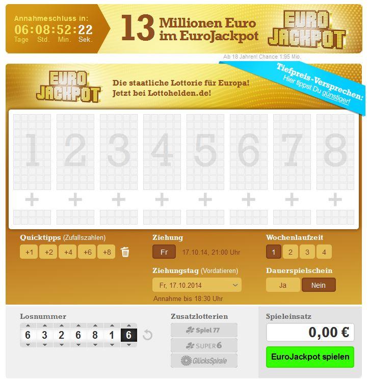 EuroJackpot – Freitag 17.10.14 Spielen – Lottozahlen & Quoten