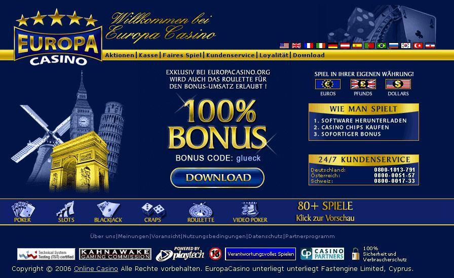 Europa Casino Bonus Code Februar 2019: Bis zu 100% Bonus